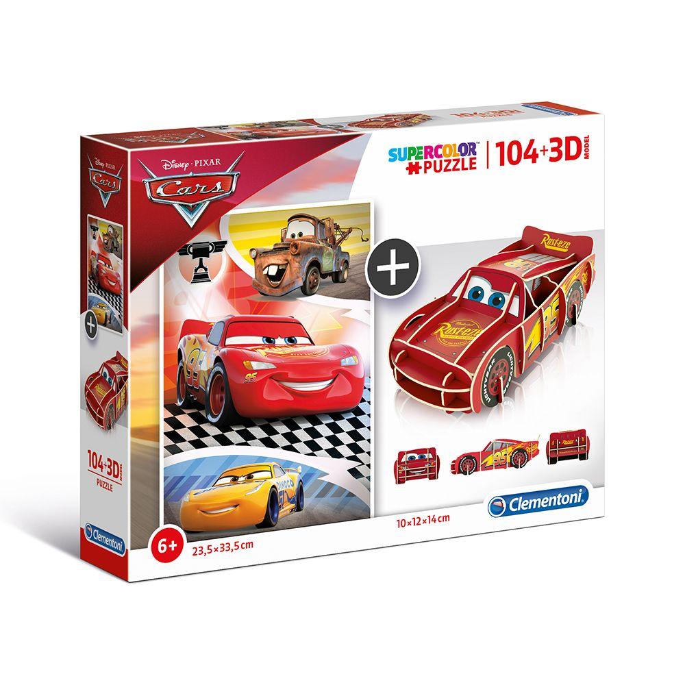 Puzzle 3D 104 piese Clementoni Cars imagine hippoland.ro