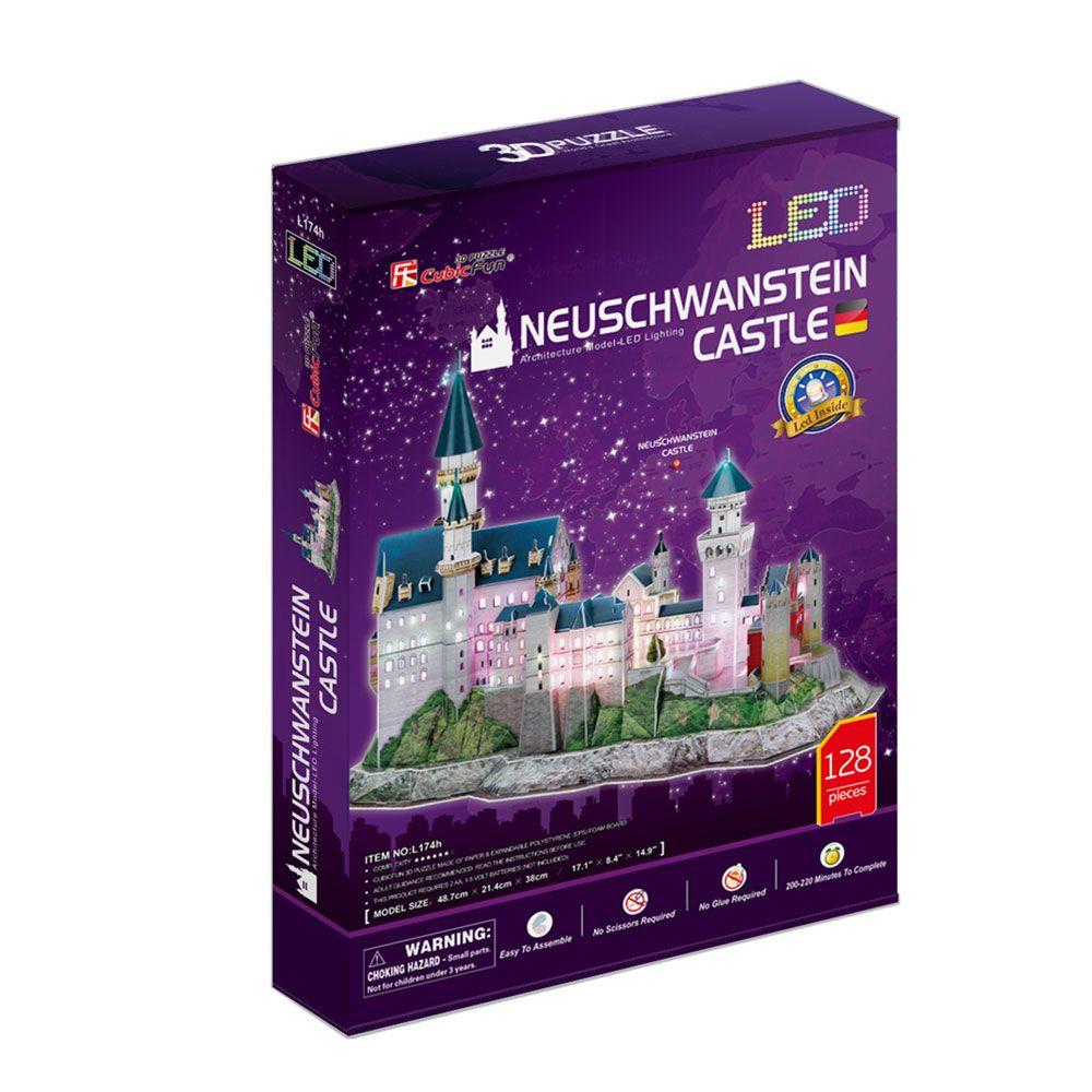 Puzzle 3D cu leduri Cubic Fun 128 piese Castelul Neuschwanstein
