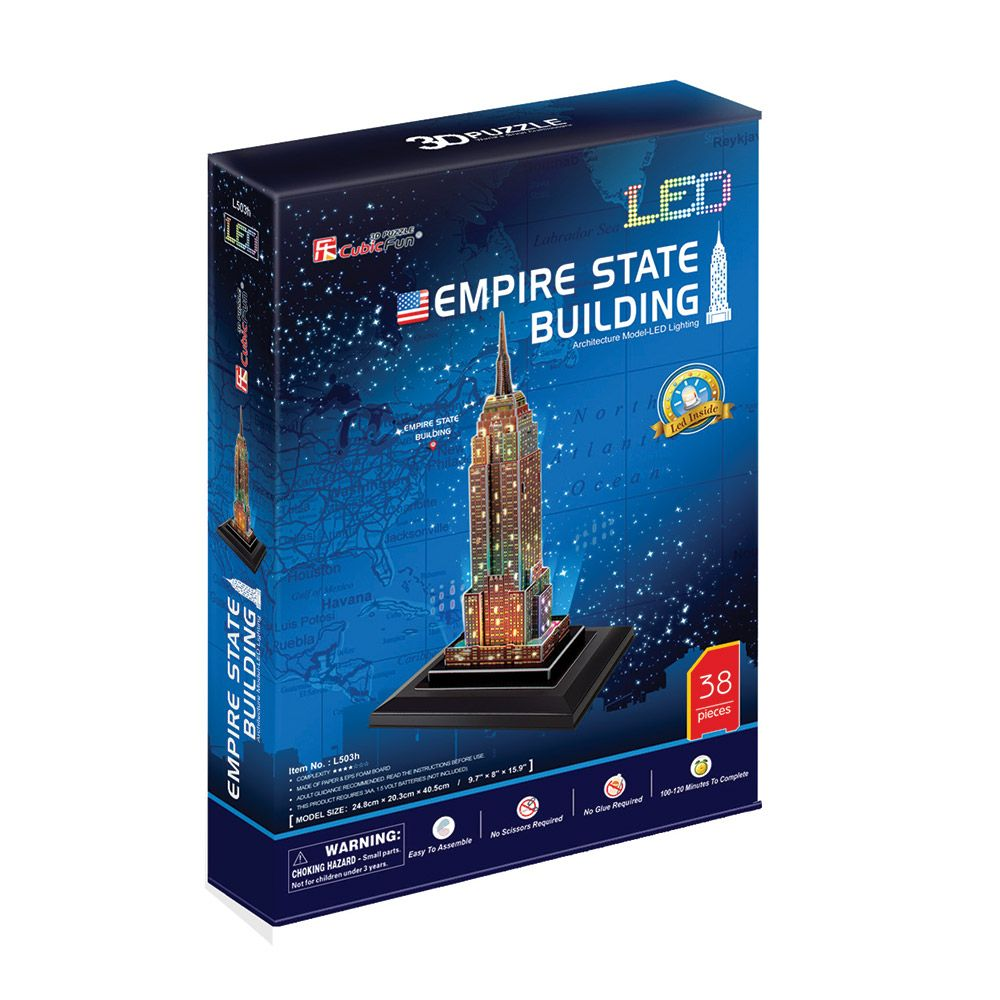 Puzzle 3d cu leduri Cubic Fun 38 piese Empire State Building imagine hippoland.ro
