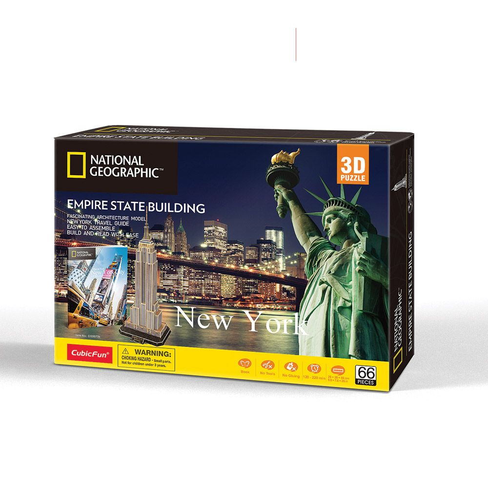 Puzzle 3d Cubic Fun National Geographic Empire State Building 66 piese imagine hippoland.ro