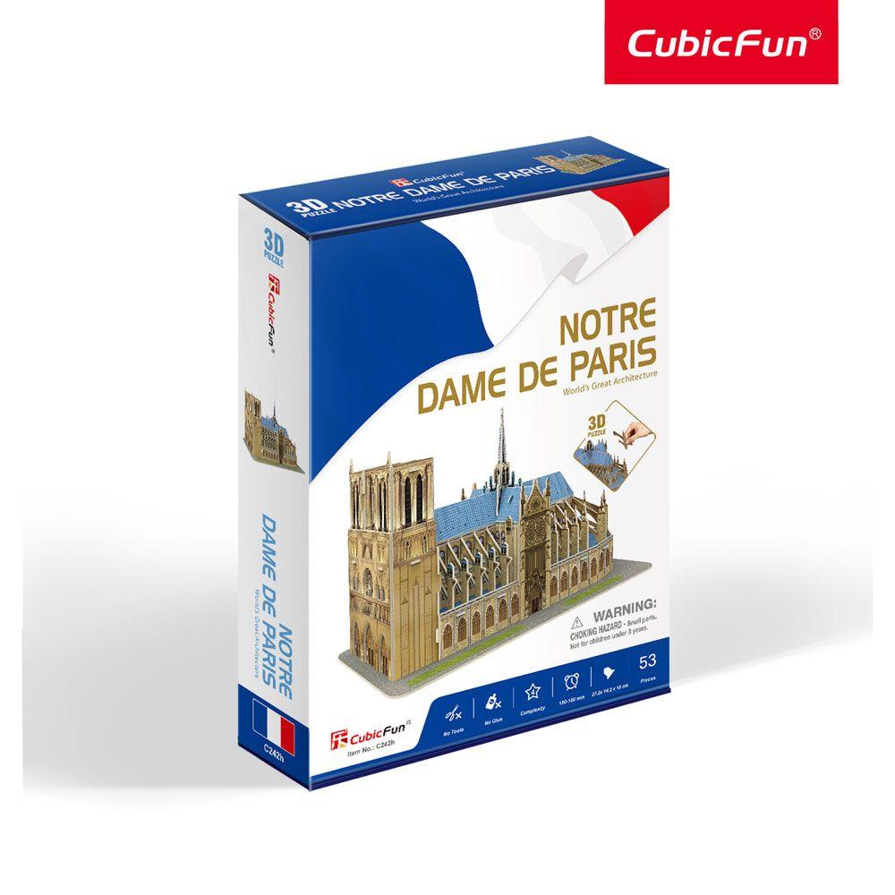 Puzzle 3d Cubic Fun Notre Dame din Paris 53 piese imagine hippoland.ro