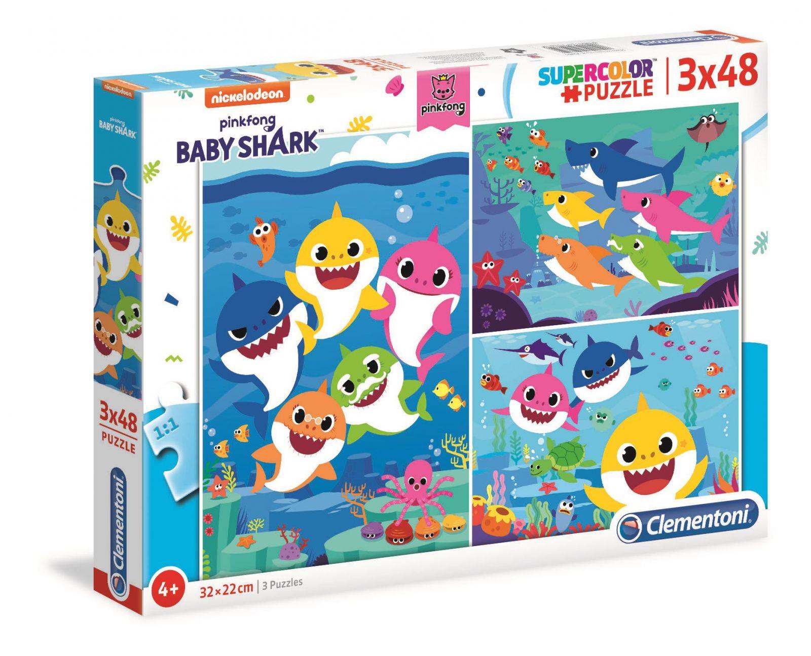 Puzzle 3x48 piese Clementoni Baby Shark imagine hippoland.ro
