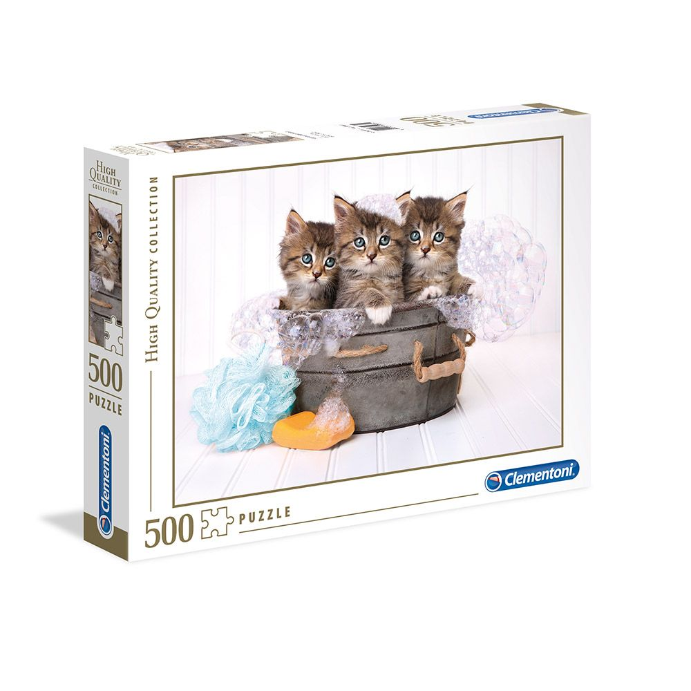 Puzzle 500 piese Clementoni Kittens and Soap imagine hippoland.ro