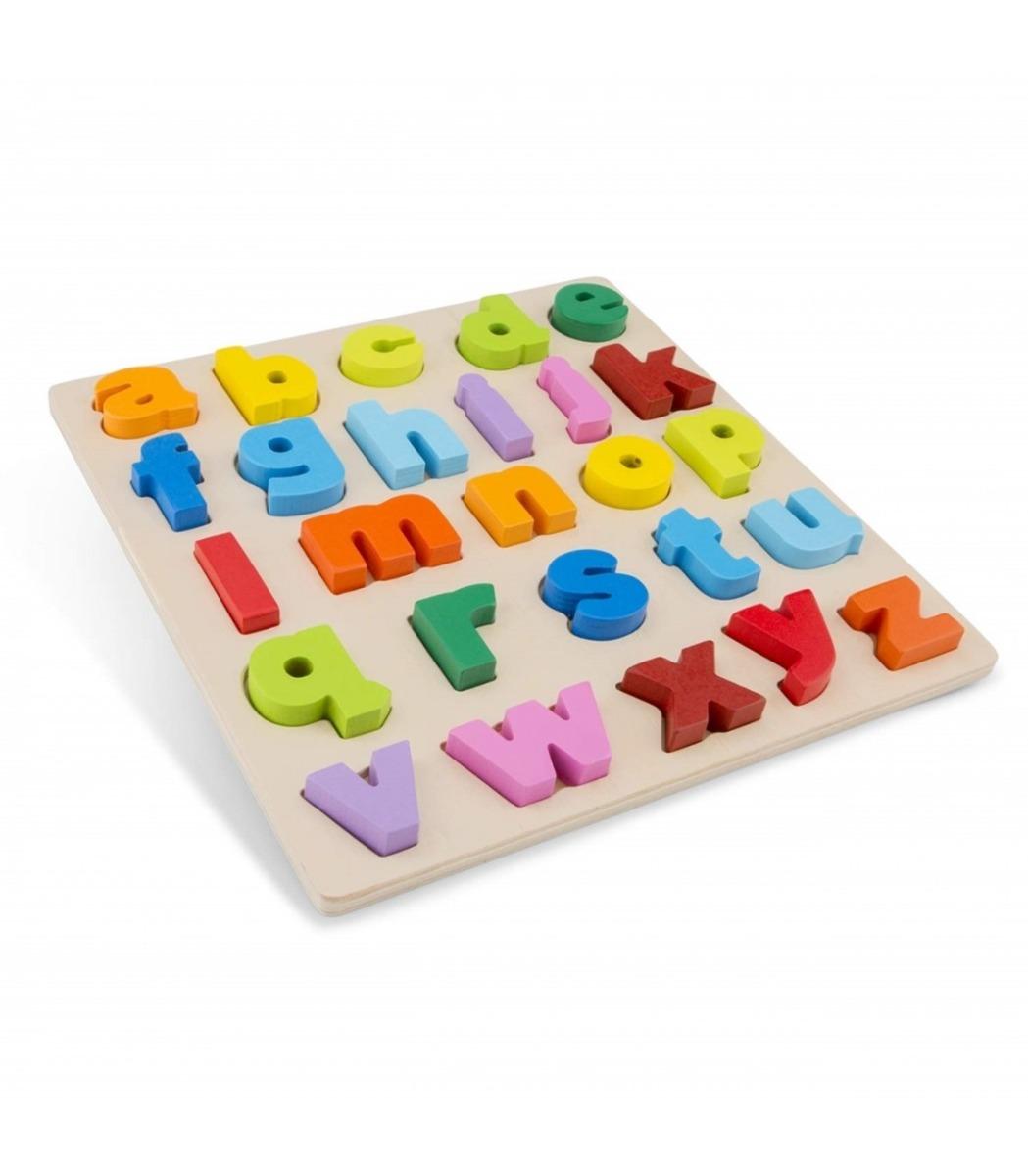 Puzzle alfabet cu litere mici din lemn New Classic Toys imagine hippoland.ro