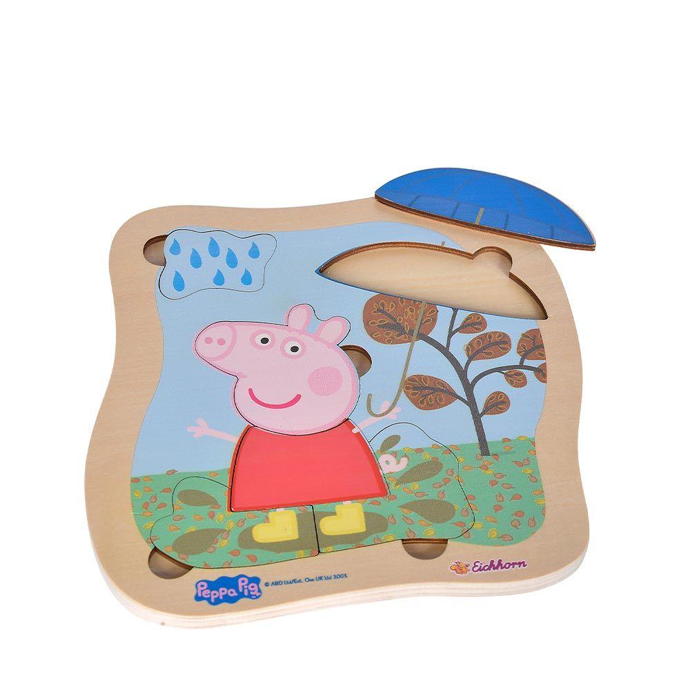 Puzzle de lemn cu forme Simba Peppa Pig imagine hippoland.ro