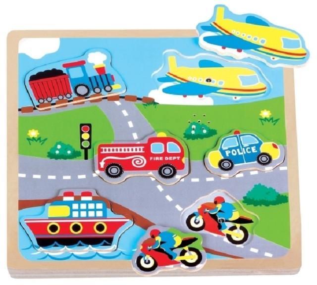 Puzzle vehicule cu sunet New Classic Toys imagine hippoland.ro