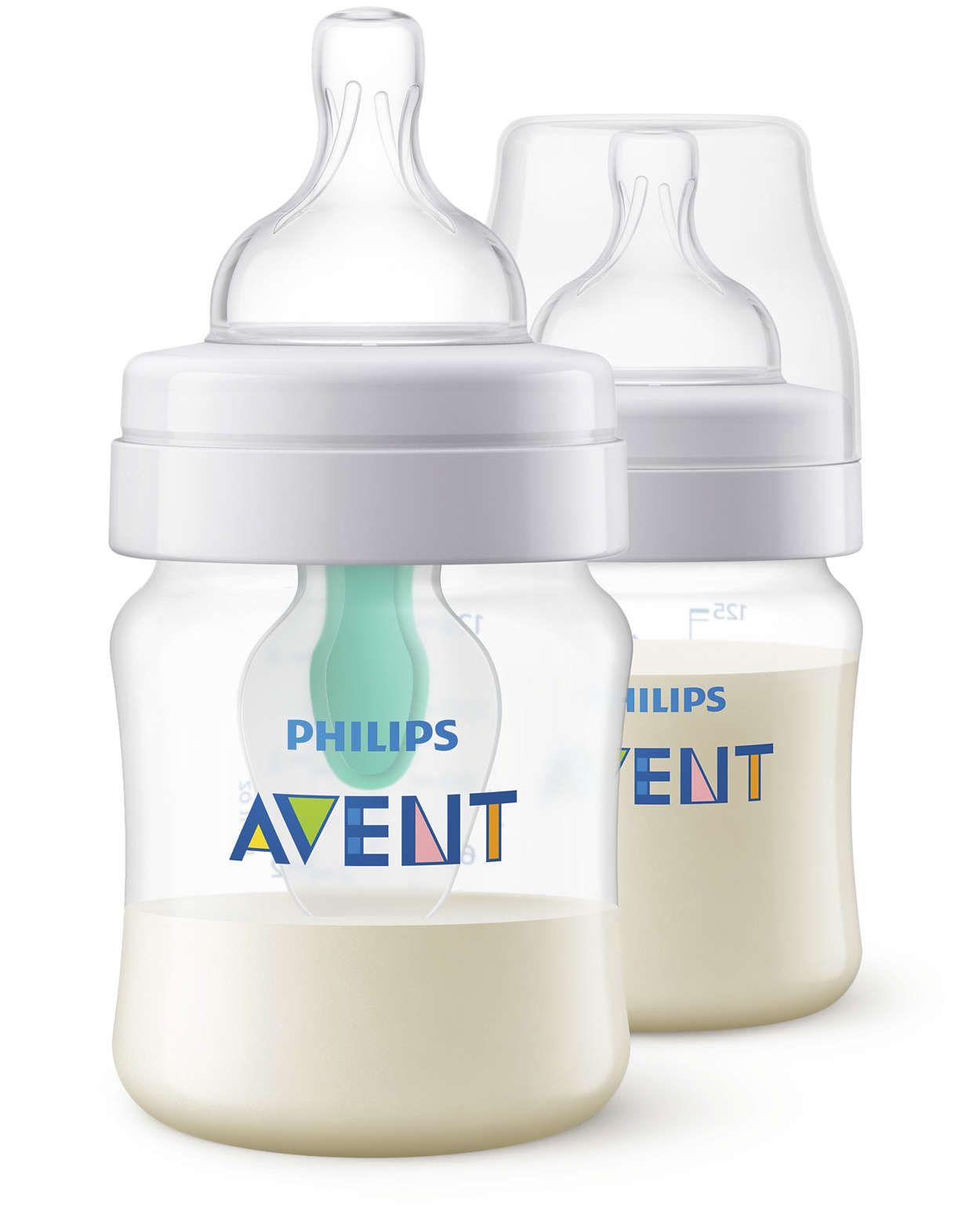 Set 2 biberoane polipropilena cu sistem anti-colici Avent Classic 125 ml imagine hippoland.ro