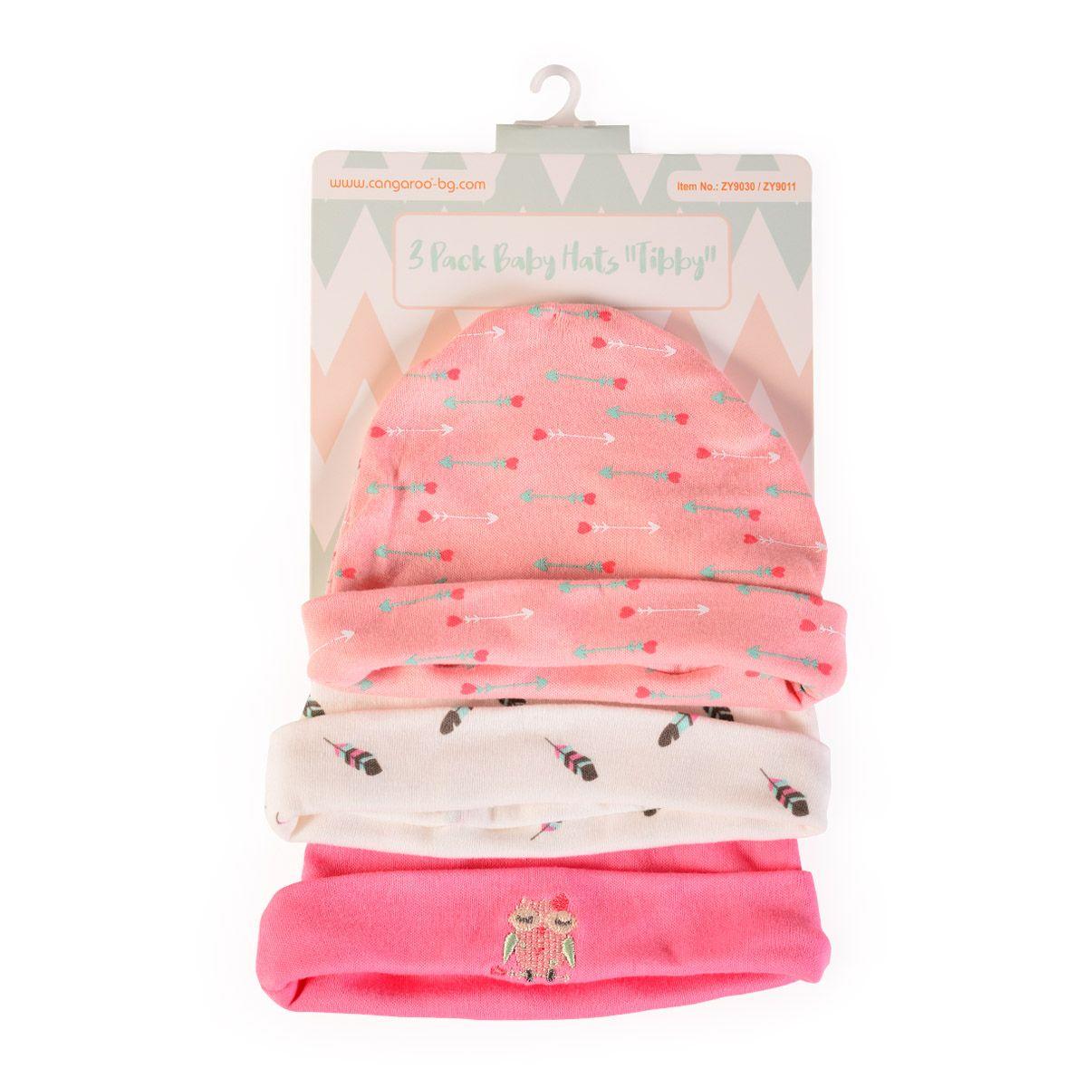 Set 3 caciulite pentru bebelusi Cangaroo Tibby pink imagine hippoland.ro