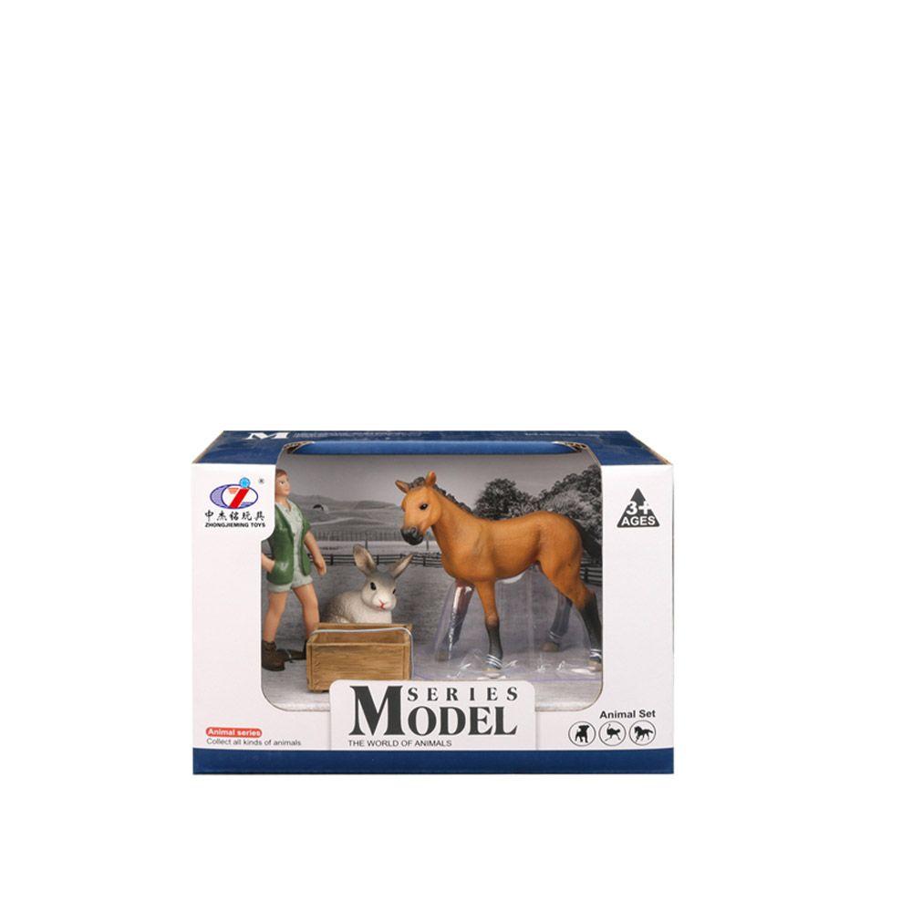 Set 3 figurine cu cal si animale de ferma Animal Series imagine hippoland.ro