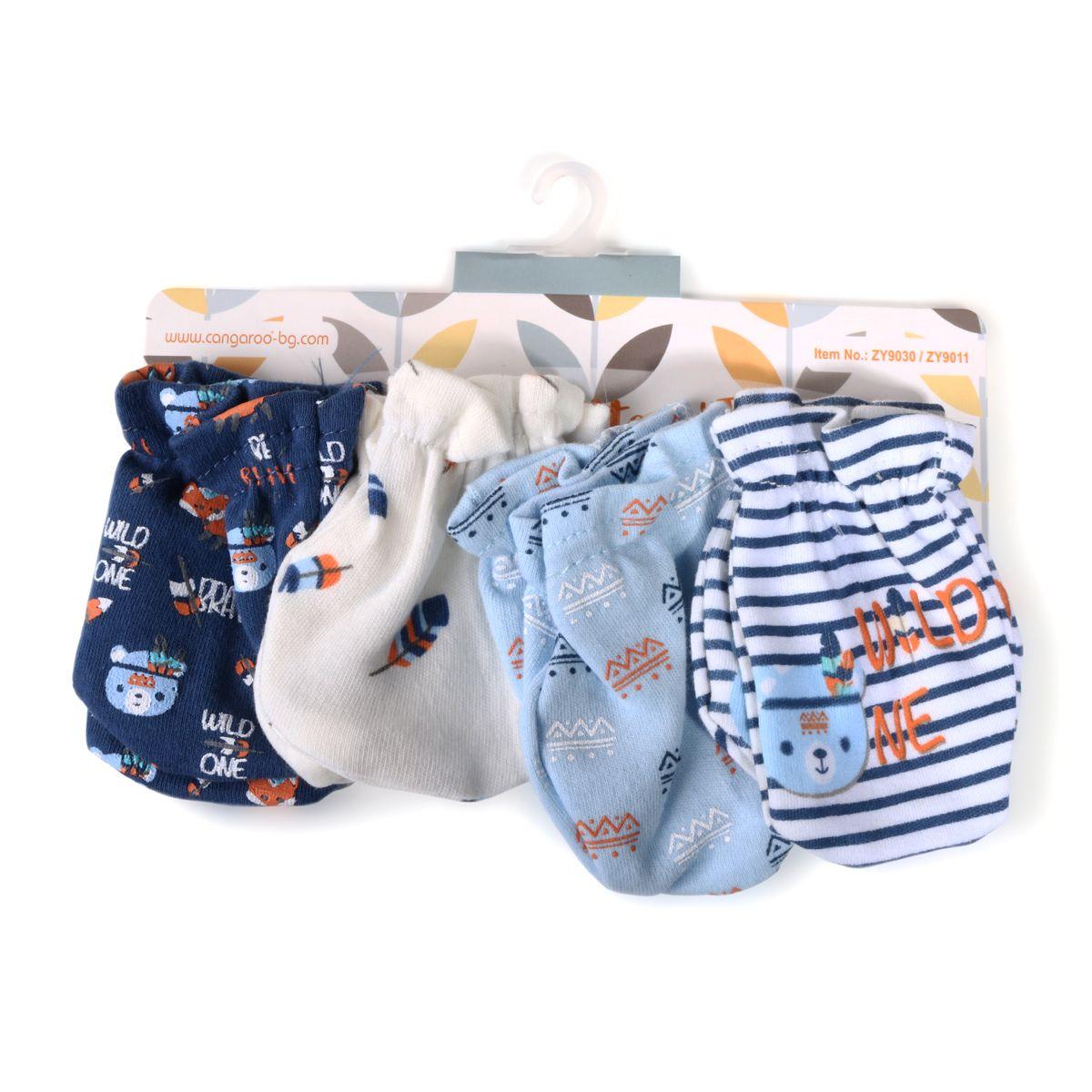 Set 4 manusi pentru bebelusi Cangaroo Tibby blue imagine hippoland.ro