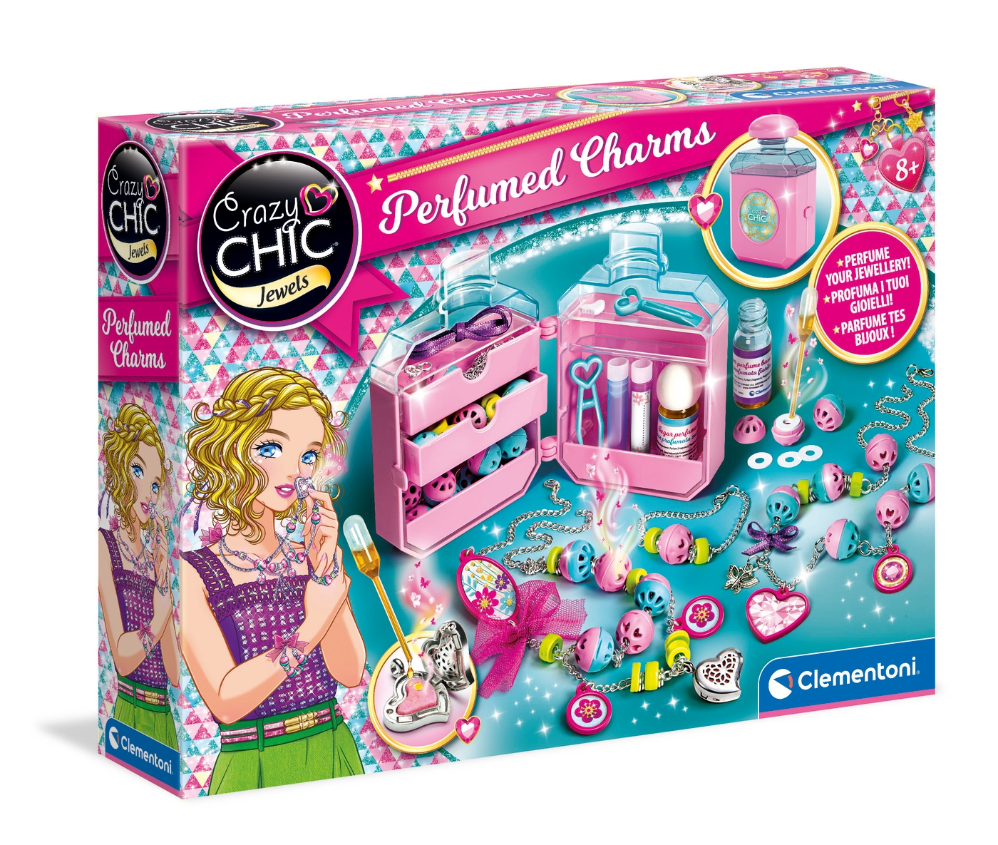 Set creatie bijuterii parfumate Clementoni Crazy Chic Perfumed Charms imagine hippoland.ro
