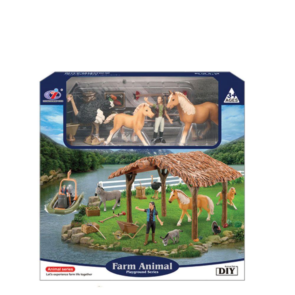 Set de joaca adapost cu animale de ferma Animal Series
