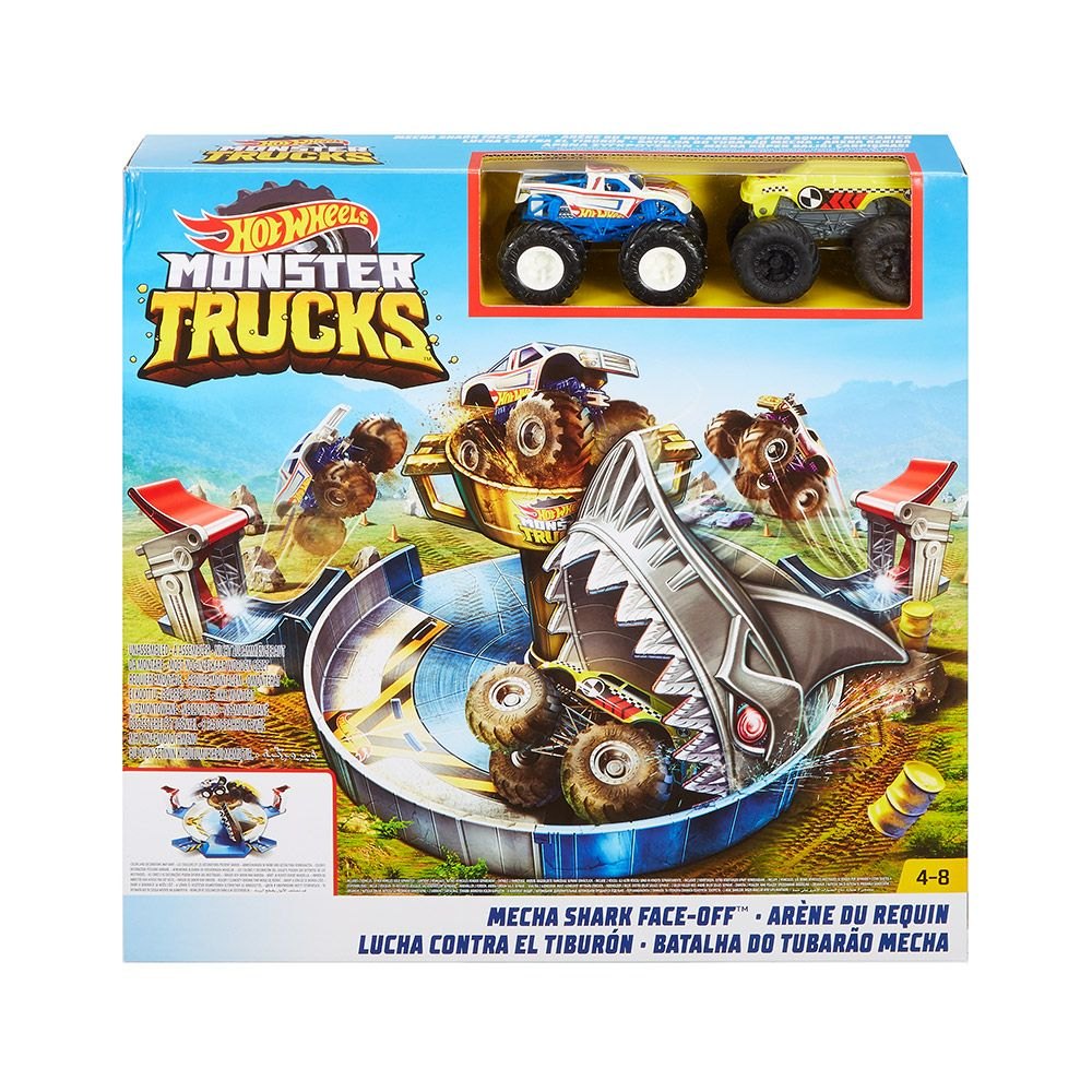 Set de joaca cu doua masinute Hot Wheels Monster Trucks Mecha Shark Face-Off imagine hippoland.ro