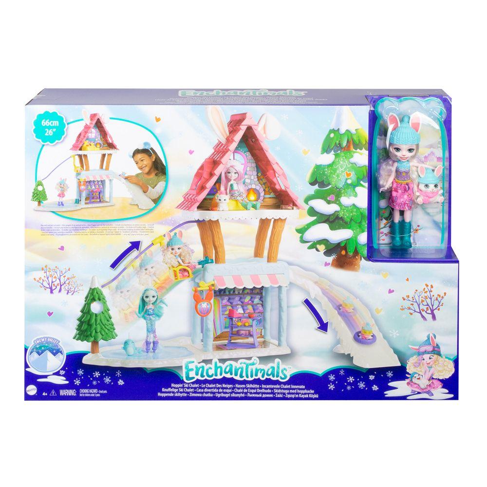 Set de joaca Enchantimals Cabana de Schi cu papusa Bevy Bunny si Jump imagine hippoland.ro