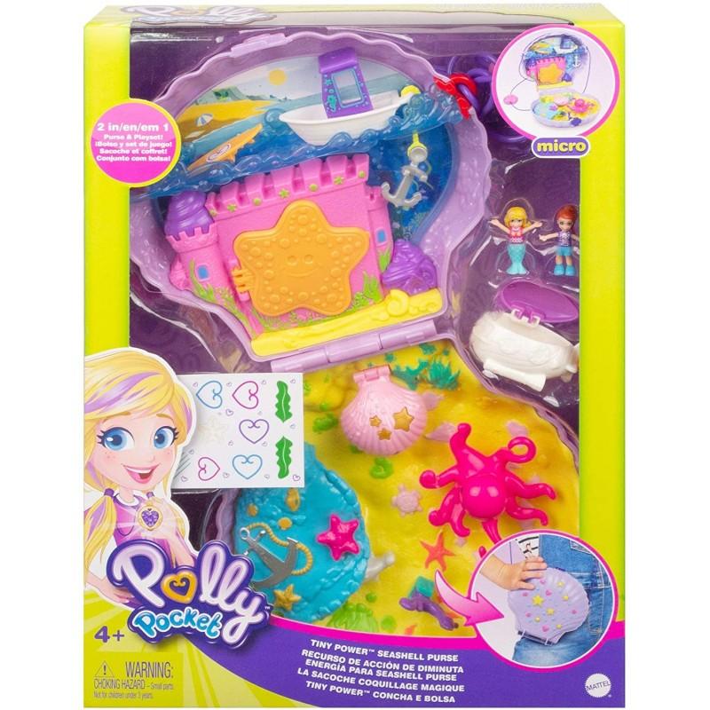 Set de joaca poseta cu figurine Polly Pocket Seashell Purse imagine hippoland.ro