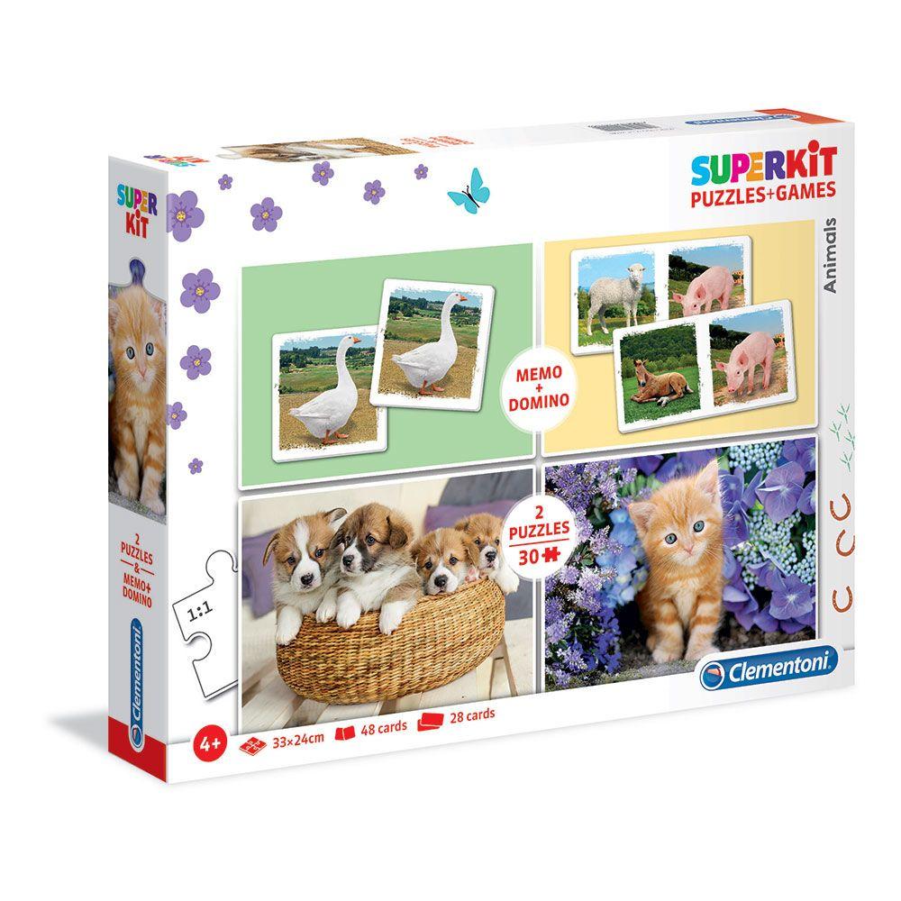 Set domino, joc de memorie si puzzle 2x30 piese Clementoni Animals imagine hippoland.ro