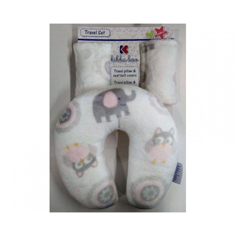 Set pentru calatorii bebelusi Kikkaboo pink owls imagine hippoland.ro