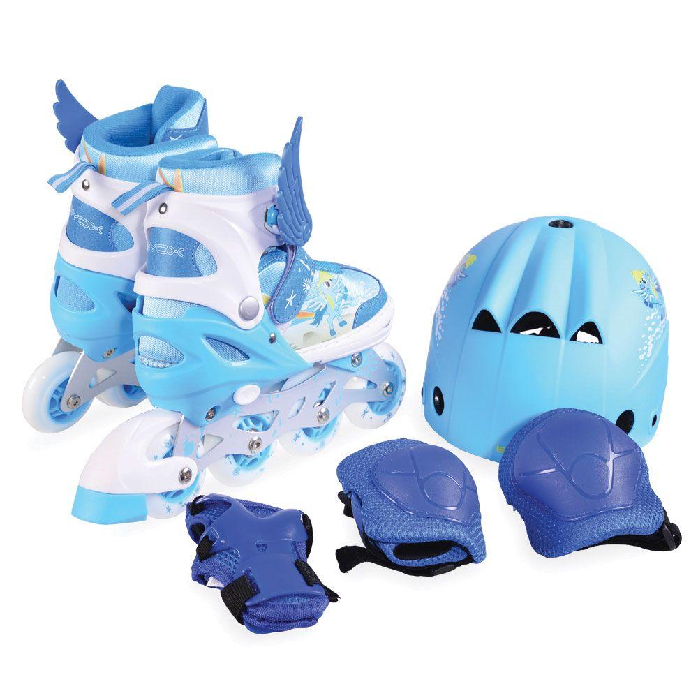 Set role casca si protectii Moni Ponny Blue 34-37 imagine hippoland.ro