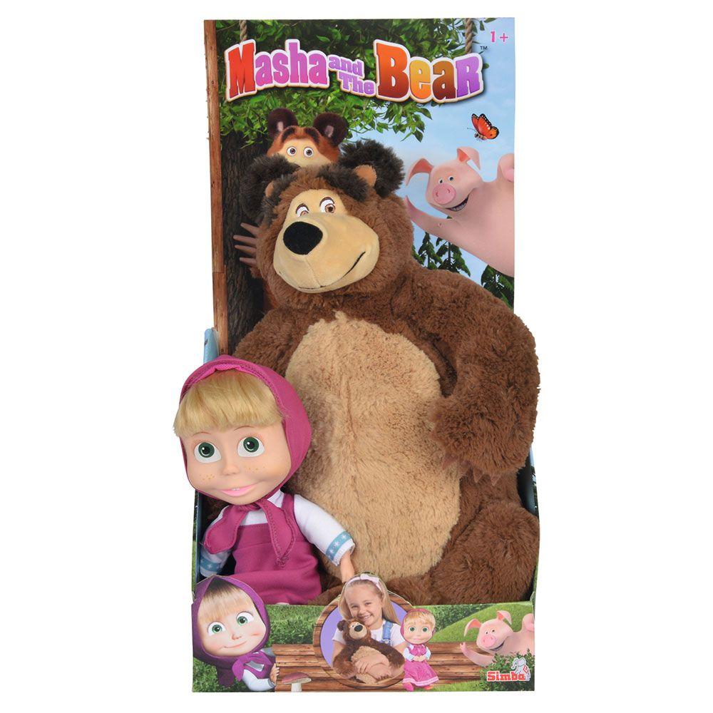 Set urs de plus cu papusa mare Simba Masha and the Bear imagine hippoland.ro