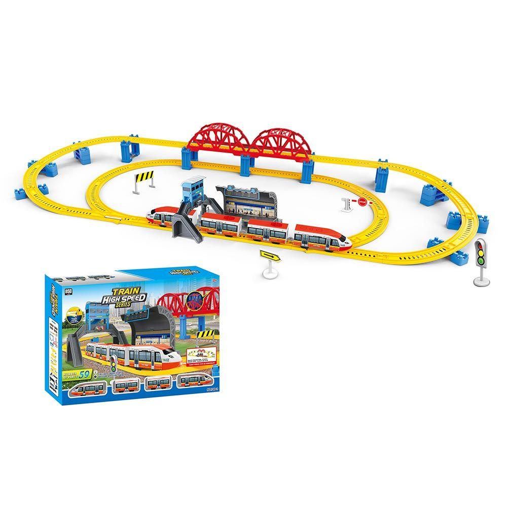 Tren de mare viteza cu statie, pod si sina 473 cm imagine hippoland.ro